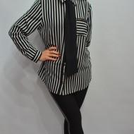 Camasa deosebita cu design de dungi alb-negru si guler mic