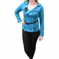Camasa eleganta cu inchidere pe o parte, de culoare albastra