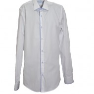 Camasa fashion nuanta alba cu maneca lunga si paspoal albastru