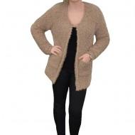 Cardigan tricotat cu maneca lunga, material pufos de nuanta bej