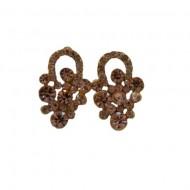 Cercei din pietre semipretioase, cu design floral, nuanta de auriu