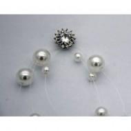 Cercei rafinati,model lung,cu perle si cristal,model mai aparte,cu steluta in partea de sus,nuanta argintiu
