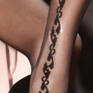 Ciorapi tip pantalon cu model la incheieturi,20 DEN,negru