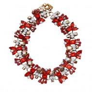 Colier trendy cu design elegant din strasuri si cristale rosii