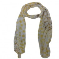 Esarfa fashion cu imprimeu de buline galbene de diferite marimi