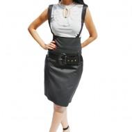 Fusta office mulata cu bretele de culoarea neagra