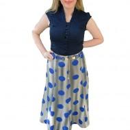 Fusta tinereasca cu lungime medie si model in clos, albastra