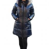 Jacheta Alice ,lunga,design lucios,nuanta de bleumarin