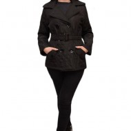 Jacheta casual, culoare neagra, cu guler dublu si model matlasat