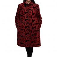 Jacheta de toamna-iarna din stofa, neagra cu imprimeu rosu, floral