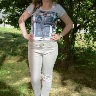 Pantalon bej cu dungi verticale in tesatura, model lung de vara