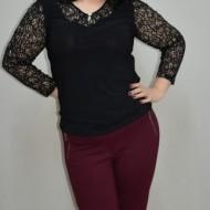 Pantalon casual de culoare marsala, model lung cu fermoare