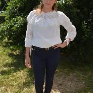 Pantalon casual de nuanta bleumarin, model lung cu dungi