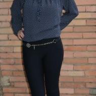 Pantalon comod cu croi tineresc, nuanta bleumarin, model lung