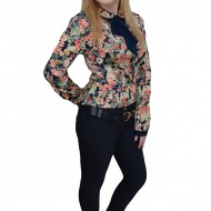 Pantalon elegant, de nuanta bleumarin, cu design modern