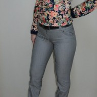 Pantalon elegant lung cu design geometric, de culoare gri