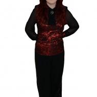 Pantalon elegant, nuanta de negru, design de strasuri