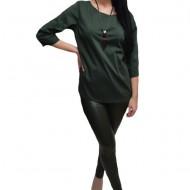 Pantalon fashion din piele ecologica verde inchis cu captuseala