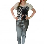 Pantalon gri din material de calitate, model lung, masura mare