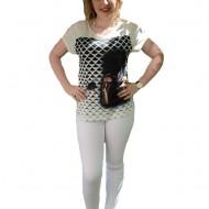 Pantalon in tendinte din material subtire, alb, buzunare aplicate