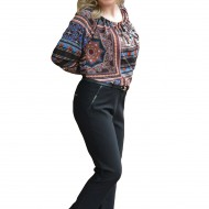 Pantalon lung masura mare, model casual din material cu tinuta