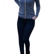 Pantalon lung model skinny cu buzunare, de culoare bleumarin