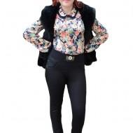 Pantalon negru cu imprimeu in tesatura, model casual masura mare