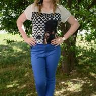 Pantalon tineresc masura mare, nuanta albastra cu curea trendy