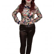 Pantalon vintage, de culoare maro, design interesant cu nasturi