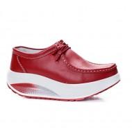 Pantof Adeline sport cu talpa ortopedica si siret ,nuanta de rosu