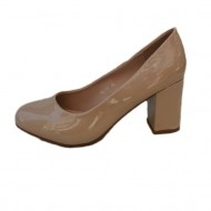 Pantof bej, clasic, cu toc gros de 6,5 cm inaltime si varf rotund