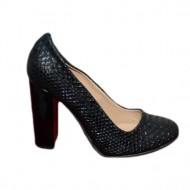 Pantof casual, rafinat, nuanta neagra, cu toc gros si varf rotund