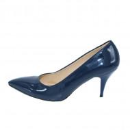 Pantof elegant, lucios, cu toc subtire inalt, de culoare bleumarin