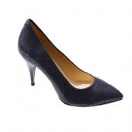 Pantof modern, bleumarin, din material ce imita pielea de sarpe