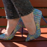Pantof modern cu toc inalt, design in tendinte nuante de albastru
