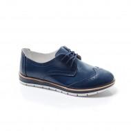 Pantof modern de culoare bleumarin, cu design rafinat, din piele