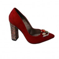 Pantof modern din piele intoarsa de culoare rosie, cu toc inalt