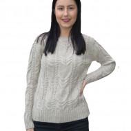 Pulover tricotat Alexa,model impletit 3D,gri