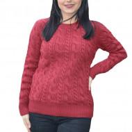 Pulover tricotat Dianna ,model rafinat impletit,marsala