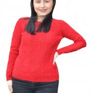 Pulover tricotat   Iullia cu model rafinat ,nuanta de rosu