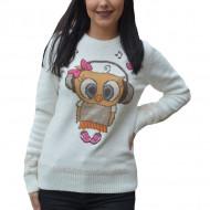 Pulover tricotat Jullia ,model cu bufinita,alba