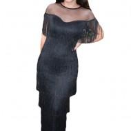 Rochie Amira eleganta cu franjuri,nuanat de negru