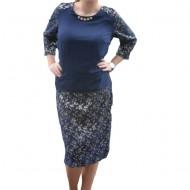 Rochie casual de culoare bleumarin cu imprimeu abstract auriu