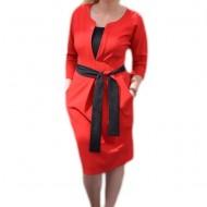 Rochie casual, de culoare rosie, cu buzunare si cordon in talie