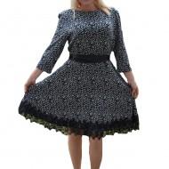 Rochie casual-elegant cu design bicolor si insertie de dantela lata