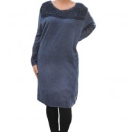 Rochie casual Leylla din tricot cu insertii de broderie,nuanta de bleumarin