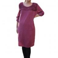 Rochie casual Leylla din tricot cu insertii de broderie ,nuanta de plamaniu