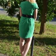 Rochie casual, sexi, midi, cu centura din elastic, pe verde sau bleumarin
