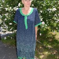 Rochie casual, verde-bleumarin cu buline alb