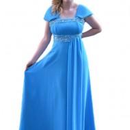 Rochie chic masura mare, de culoare albastra, cu model fronsat